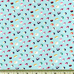 Tiny Mini Sushi Blue Green Fabric