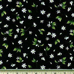 Tossed Lemon Flowers on Black Fabric