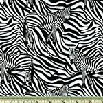 Wild Camo Zebra Black White Fabric