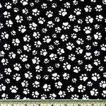 Paw Print Black and White Fabric