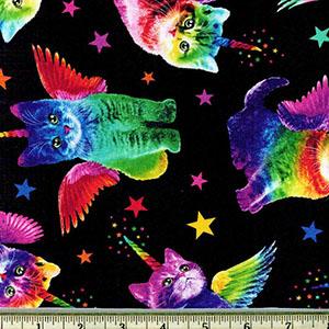 Rainbow Unicorn Cats on Black Fabric
