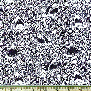 Dark and Stormy Shark Indigo Fabric
