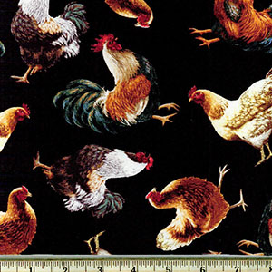 Tossed Chickens Print Fabric