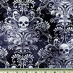 Skull Damask Negative Print Fabric