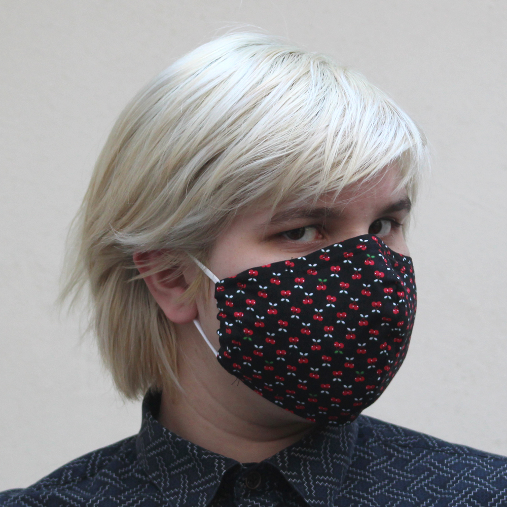 Contoured Cherry Fabric Mask Black