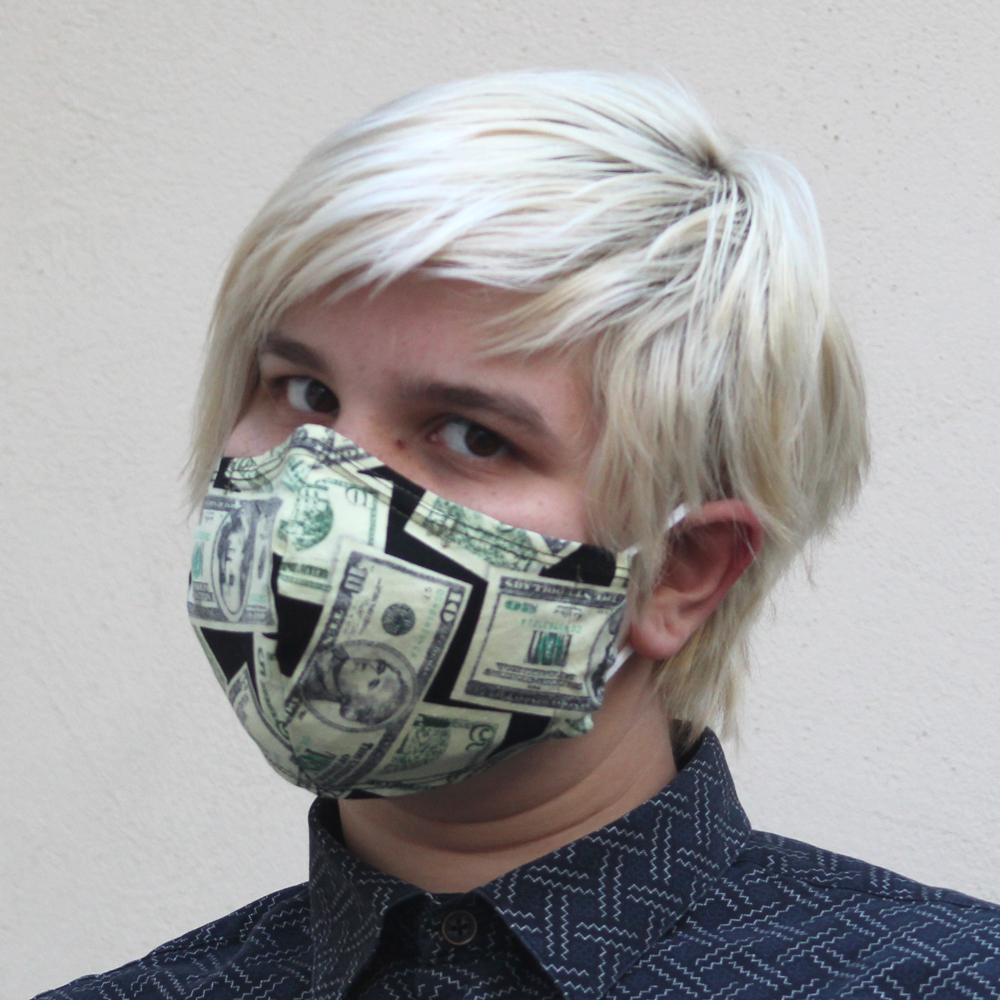Contoured Money Fabric Mask GreenSize: Reg Adult, Sm Adult & Child