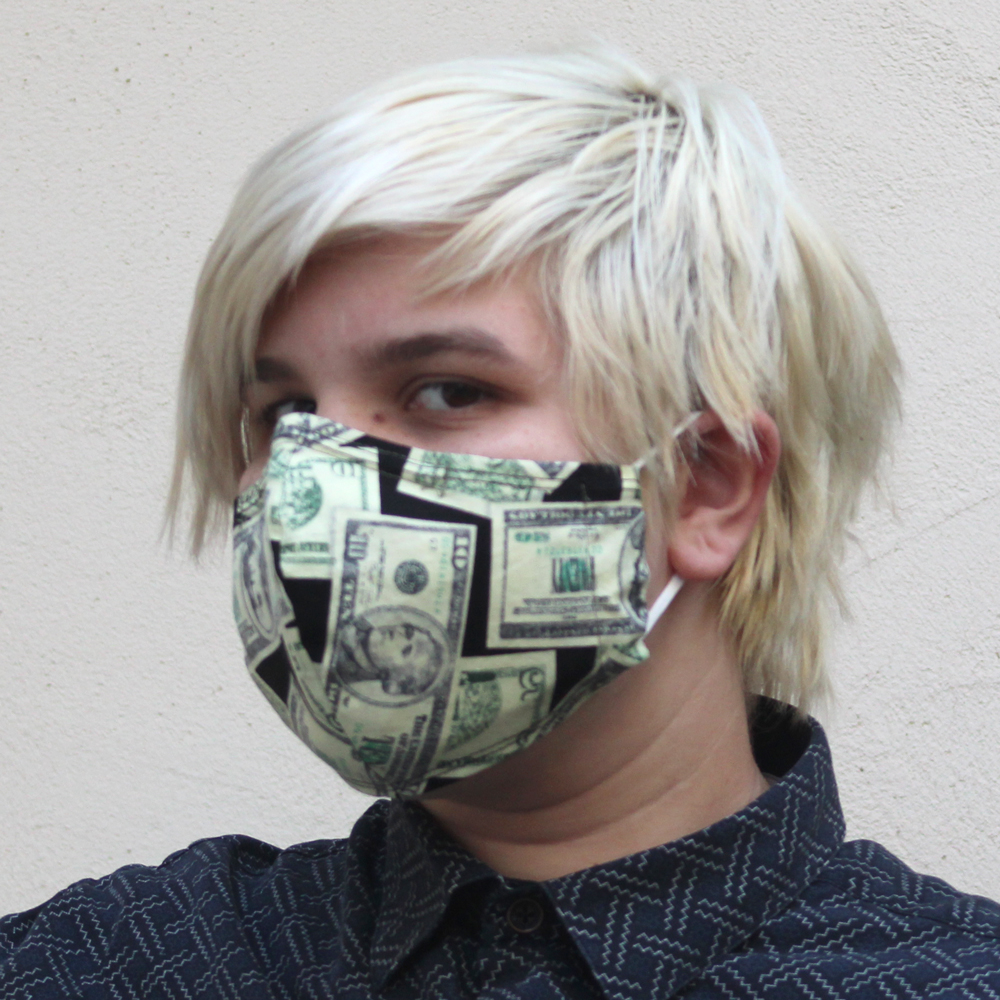 Contoured Money Fabric Mask Green