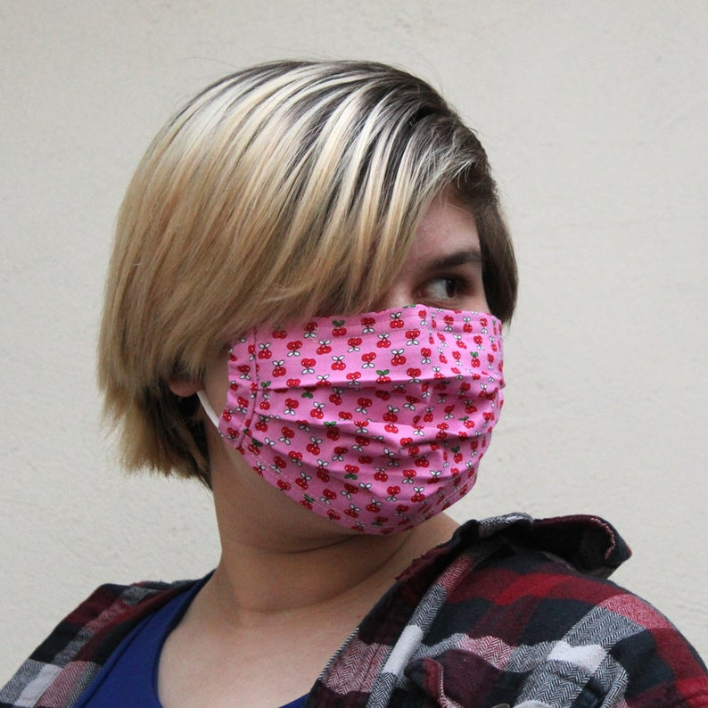 Pleated Cherry Mask in Pink with Filter Pocket and WireSize: Reg Adult, Sm Adult & Child