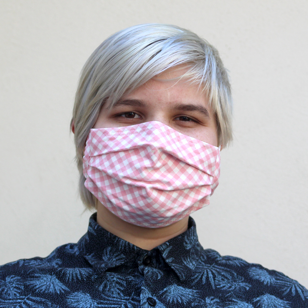 Pleated Gingham Bias Mask in PinkSize: Reg Adult, Sm Adult & Child