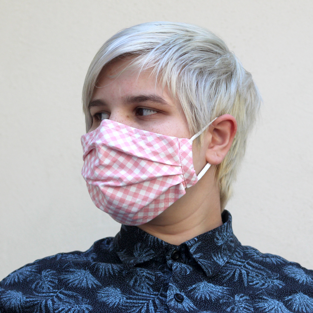 Pleated Gingham Bias Mask in Pink