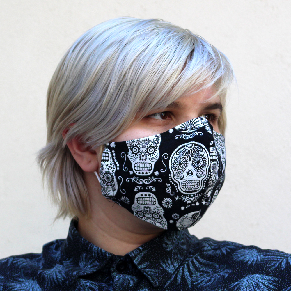 Contoured Glow in the Dark Skull Mask