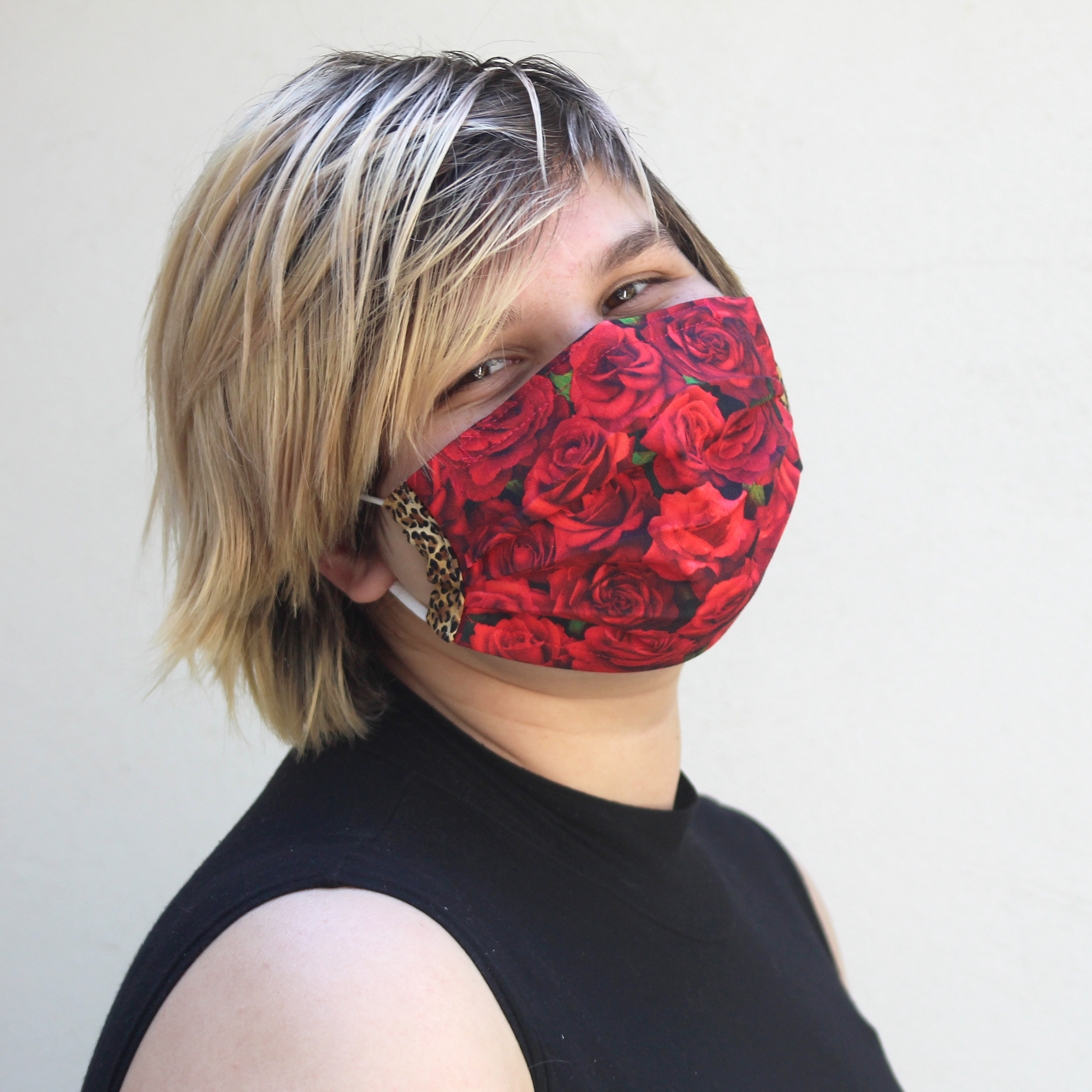 Pleated Leopard Rose MaskSize: Reg Adult, Sm Adult & Child