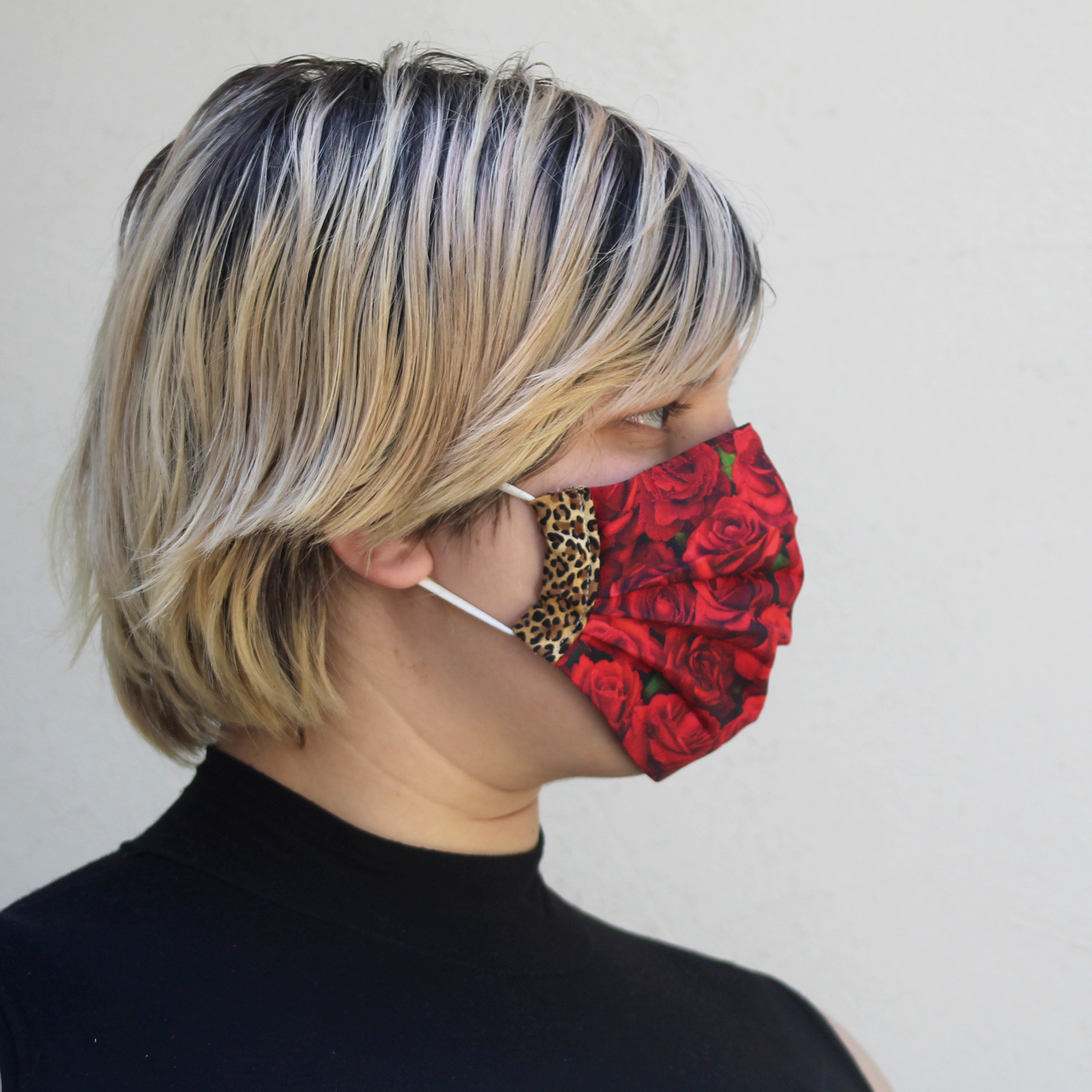 Pleated Leopard Rose Mask