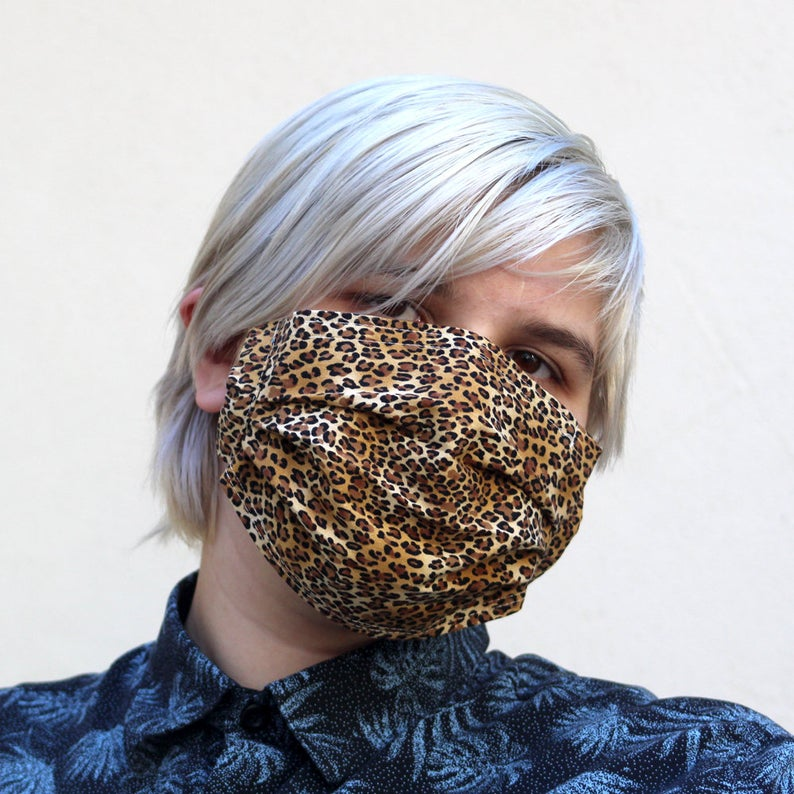 Pleated Tiny Leopard Mask