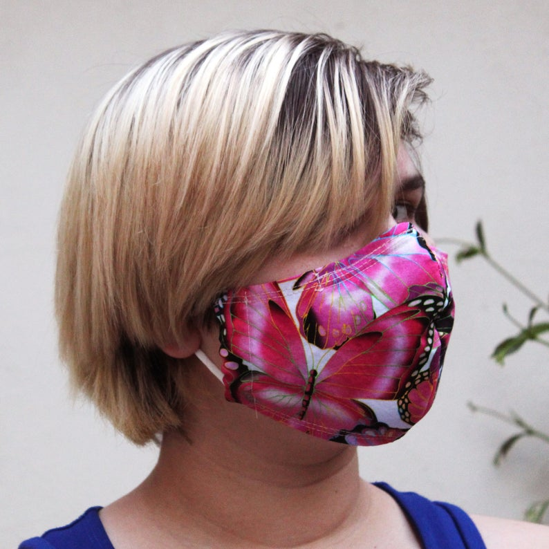 Contoured Bright Pink Butterfly MaskSize: Reg Adult, Sm Adult & Child