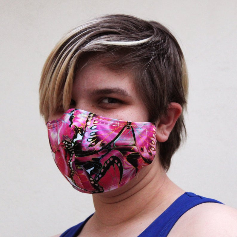 Contoured Bright Pink Butterfly Mask