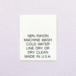 100% Rayon Care Tags