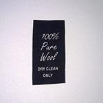 100% Wool Black Taffeta Care Labels