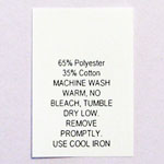 Printed 65% Poly / 35% Cotton Blend Care Tags