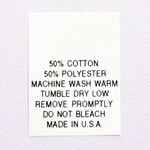 Printed 50% Poly / 50% Cotton Blend Care Tags
