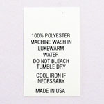 100% Polyester Printed Clothing Care Tags