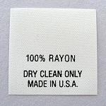 100% Rayon Care Tags