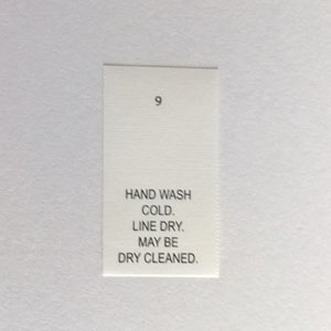 Hand Wash Cold Dry Clean Printed Care Tags