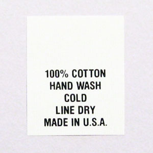 100% Cotton Hand Wash Care Tags