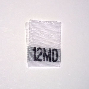 12 Months Size Tags