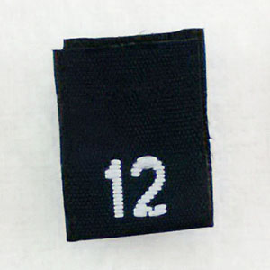 Size 12 Size Tags- Black