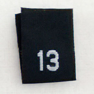 Size 13 Size Tags- Black
