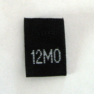 12 Months Size Tags-Black
