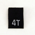 Size 4T Size Tag - Black