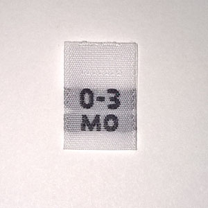 Woven 0-3 months Size Tags