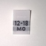 Woven 12-18 months Size Tags