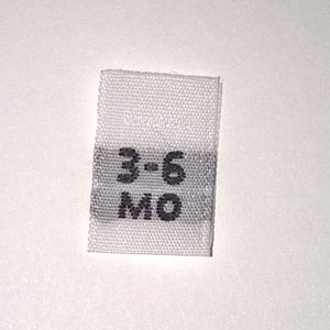 Woven 3-6 months Size Tags