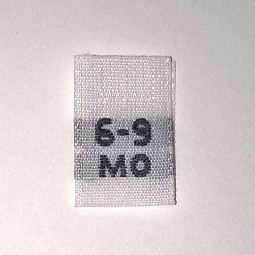 Woven 6-9 months Size Tags
